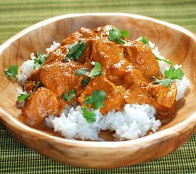 Pollo en salsa de zanahoria con arroz basmati
