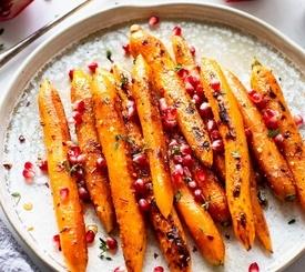 Snack de zanahorias asadas con sésamo